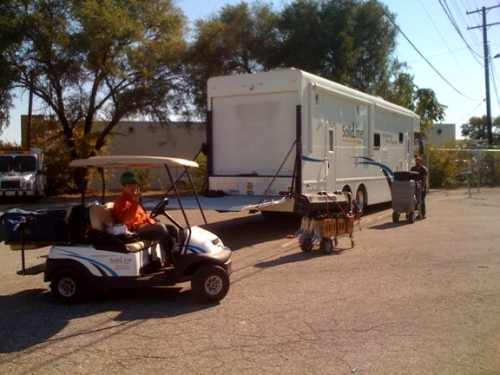 Eddie hauls some of our more delicate high def equipment in the SolidLine Golf Cart