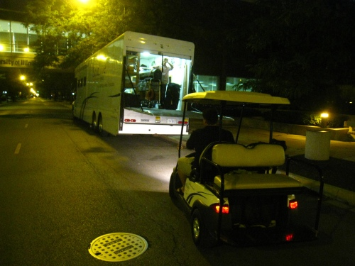 Loading up at 11pm after a 17 hour day of filming